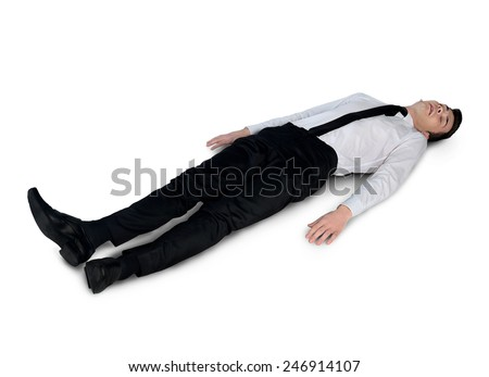 Isolated business man very tired - stock photo