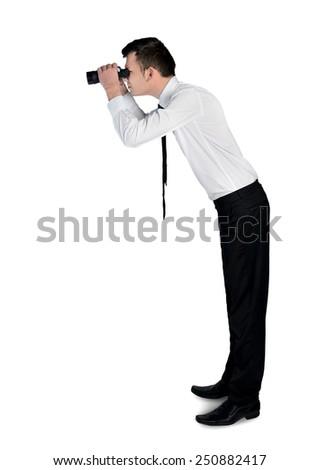 Isolated business man with binoculars - stock photo