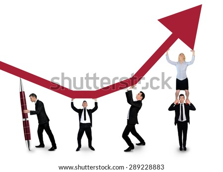 Isolated business team push graphic arrow up - stock photo