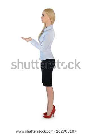 Isolated business woman carry something - stock photo