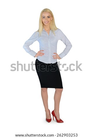 Isolated business woman looking camera - stock photo