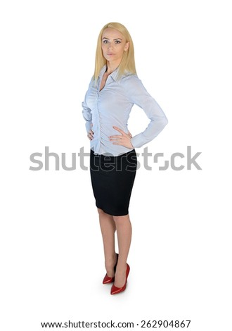 Isolated business woman looking side - stock photo