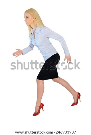 Isolated business woman running side - stock photo