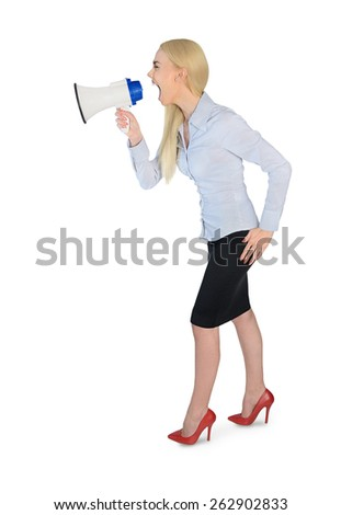 Isolated business woman with loudspeaker - stock photo