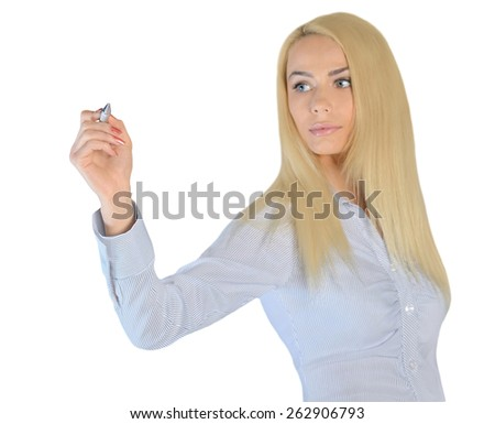 Isolated business woman writing something - stock photo