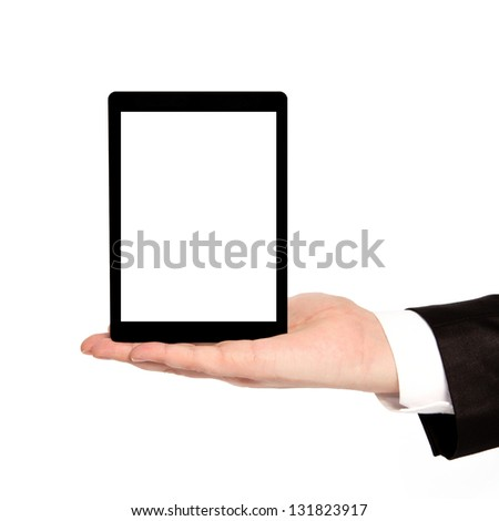 isolated businessman hand holding a tablet computer with isolated screen - stock photo