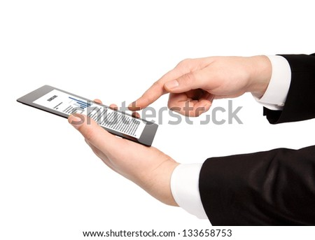 isolated businessman hand holding tablet computer with business text on the screen - stock photo