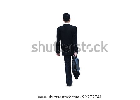Isolated businessman walking on white background - stock photo