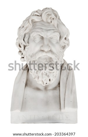 Isolated bust of Antisthenes - greek philosopher and pupil of Socrates. Replica in the Achilleion of Corfu in Greece. Born in 445 BCE. - stock photo