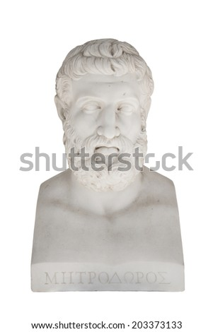 Isolated bust of Metrodorus of Lamsacus (the younger) - greek philosopher. - stock photo