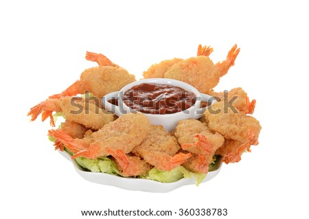 isolated butterfly shrimp with seafood sauce - stock photo