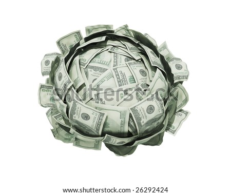Isolated cabbage from one hundred american dollars - stock photo