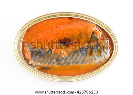 isolated canned fish - stock photo