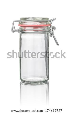 isolated canning jar - stock photo
