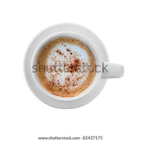Isolated cappucino cup top view - stock photo