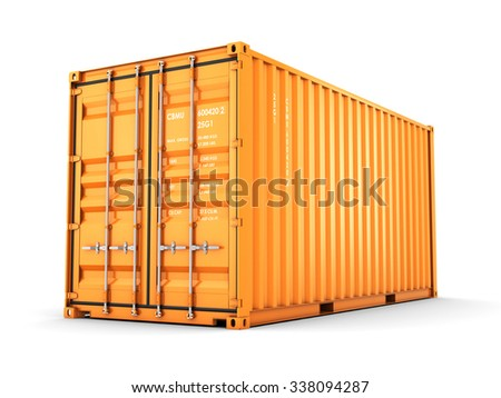 Isolated cargo container on the white background - stock photo