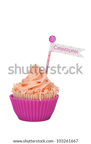 isolated Celebrate cupcake for a party - stock photo