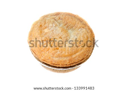 isolated chicken and mushroom pastry pie - stock photo