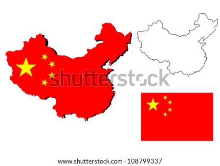 isolated china map with the falg inside - stock photo
