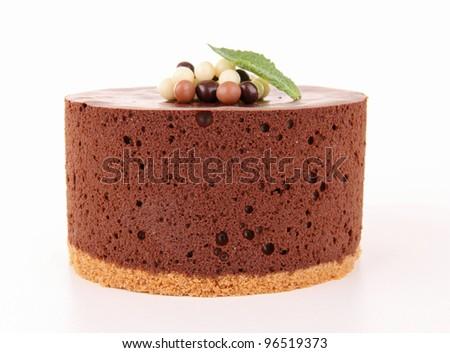isolated chocolate cake - stock photo