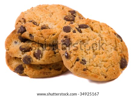 Isolated Chocolate Chip Cookies - stock photo