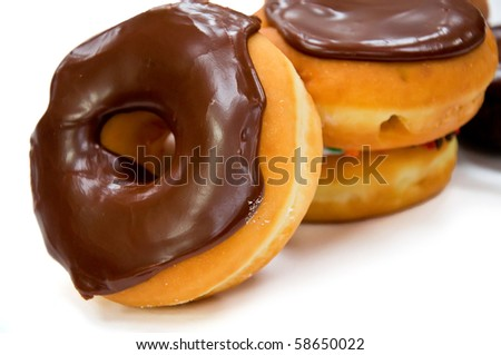 Isolated Chocolate Doughnuts on Pure White Background - stock photo
