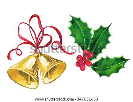 isolated Christmas decorations: gold bells with red ribbon, and holly berries and leaves. Vintage watercolor illustration. very detailed artistic drawing. - stock photo