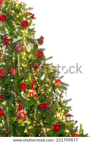 Isolated christmas tree with copy space on one side - stock photo