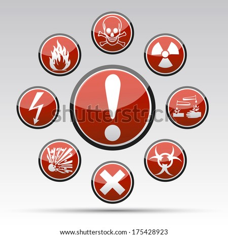 Isolated Circle Danger sign collection with black border, reflection and shadow on light background - stock photo