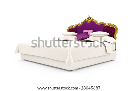 isolated Classic Bed over a white background - stock photo