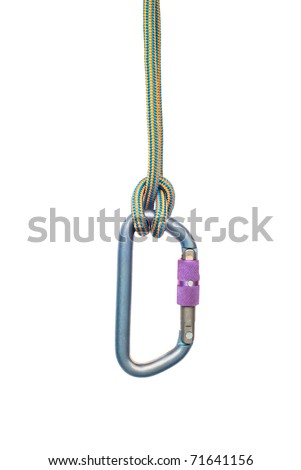 Isolated climbing equipment - carabiner and rope - stock photo