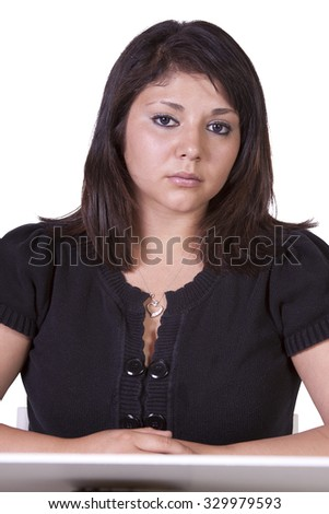 Isolated close up of a beautiful woman - stock photo
