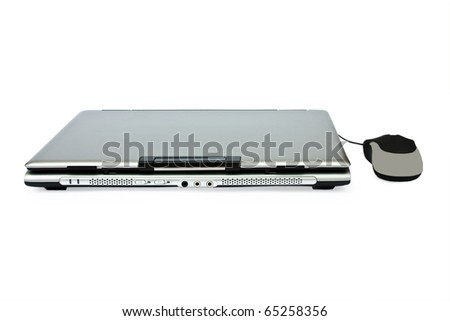 isolated closed laptop and mouse on a white backround - stock photo
