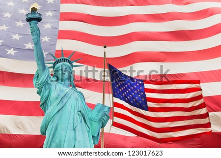 Isolated closeup view on the head of the Statue of Liberty in New York City (USA) - stock photo