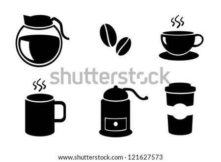 Isolated coffee icon set illustration. - stock photo