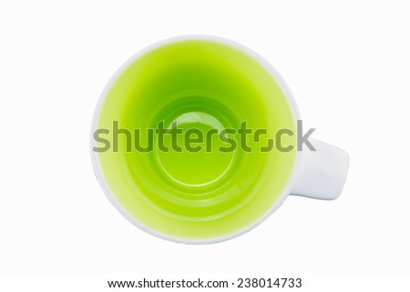 Isolated coffee porcelain mug with white background on top view - stock photo