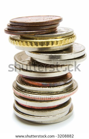 Isolated coins pile over white background - stock photo