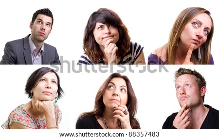 Isolated collage of people thinking hard about a problem - stock photo
