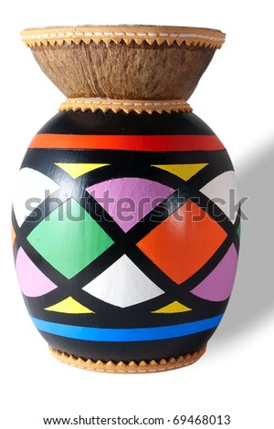 Isolated colored djembe on a white background - stock photo