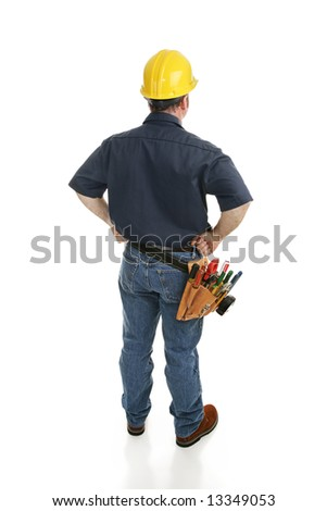 Isolated construction worker viewed from behind.  Full body on white. - stock photo
