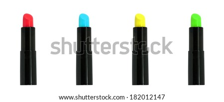 Isolated cosmetics : Mixed color lipsticks with white background. - stock photo