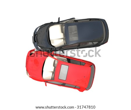 Isolated Crashed Cars - stock photo