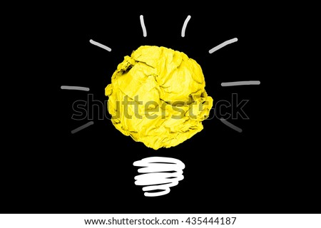 isolated creative inspiration from colour concept crumpled paper light bulb metaphor for good idea on black background / solution thinking answer /Aha Think Moments  - stock photo