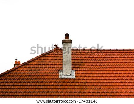 isolated crop of orange roof tiles - stock photo