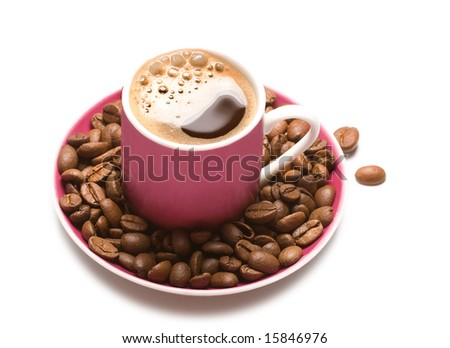 isolated cup of coffee and coffee-beans on white background - stock photo