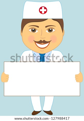 isolated cute doctor with poster on blue background - stock photo