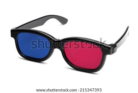Isolated 3d Cinema Glasses - stock photo