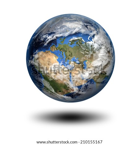 Isolated 3D image of planet Earth with shadow. View to Europe and Africa. Elements of this image furnished by NASA. - stock photo