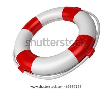 Isolated 3d life buoy - stock photo