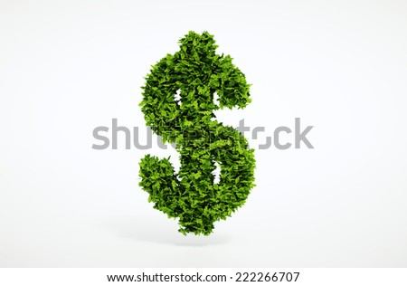 Isolated 3d render ecology dollar concept with white background - stock photo